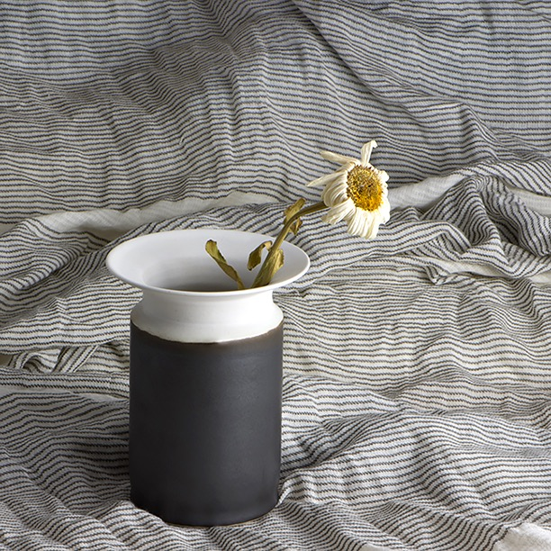 Black and white vase against a striped background, and a faded daisy for display.