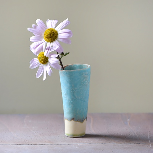 Blue Daisy Vase  with Pink Aster