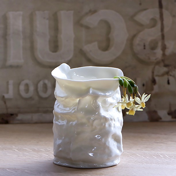 Crumpled Porcelain Vase with Drooping Narcissus