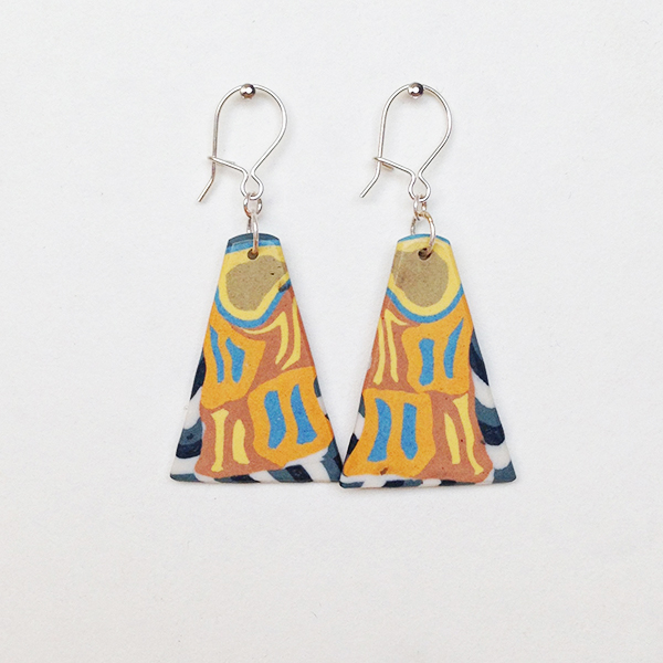 Porcelain and Silver Earrings